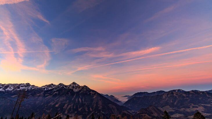 Mountains with the sunset